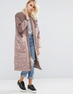 Read more about Asos premium parka with satin quilt and borg lining - dusty pink