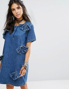 Read more about Glamorous denim shift dress with distressed bows - indigo