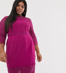 Read more about Paper dolls plus lace long sleeve and trim pencil dress in raspberry