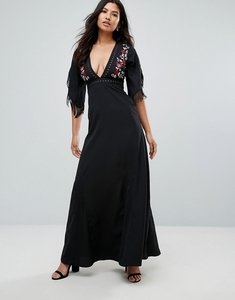 Read more about Glamorous embroidered maxi dress - black
