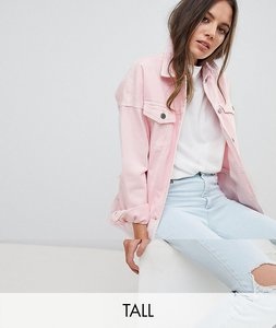 Read more about Noisy may tall denim jacket - pink