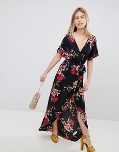 Read more about New look printed wrap short sleeve midi dress - black pattern