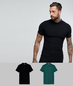 Read more about Asos muscle fit pique polo 2 pack save - black courgette