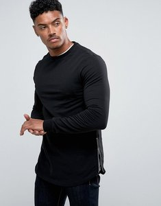 Read more about Asos longline muscle fit sweatshirt with curved hem and side zip in black - black
