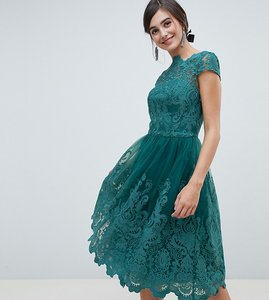 Read more about Chi chi london tall premium bardot midi prom dress in green