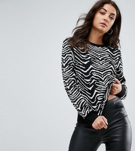 Read more about Missguided tall knitted zebra print jumper - multi