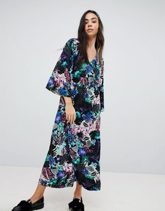 Read more about Monki tropical floral print wrap midi dress - topical print