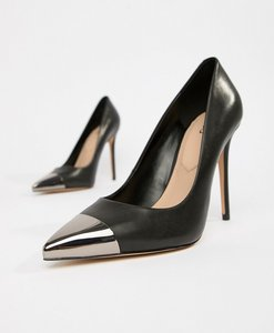 Read more about Aldo edania black metal toe leather court shoes - black leather