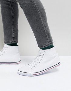Read more about Asos design mid top plimsolls in white canvas - white