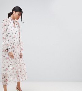 Read more about Y a s tall floral high neck midi dress - multi