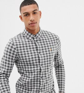 Read more about Farah bobby slim fit checked jersey shirt in grey - grey