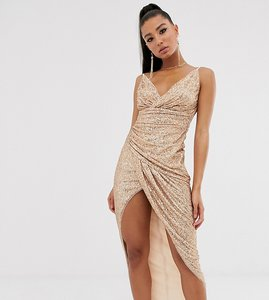 Read more about Tfnc wrap front sequin maxi dress in rose gold
