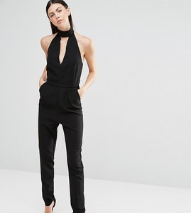 Read more about Lavish alice tall halter neck tailored jumpsuit - black