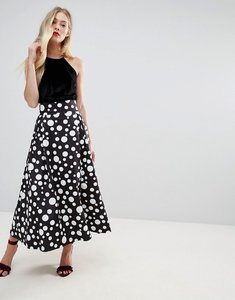 Read more about Asos scuba prom midaxi skirt in spot print - black white