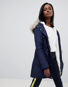 Read more about Oasis faux fir trim hooded parka - navy