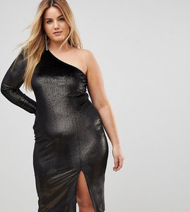Read more about Flounce london plus glitter velvet one shoulder midi dress - black gold