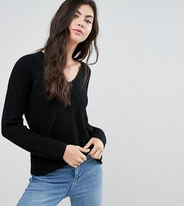 Read more about Asos tall ultimate chunky jumper with v neck - black