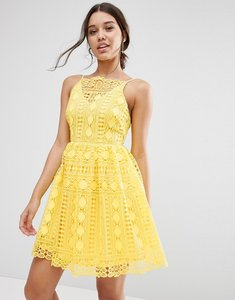 Read more about Asos premium occasion mini dress in geo lace - yellow