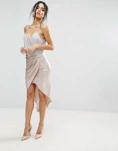 Read more about Little mistress metallic wrap over skirt - gold