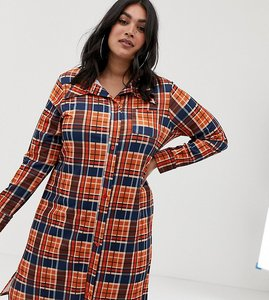 Read more about Pink clove button through shirt dress in check