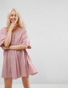 Read more about Asos v front v back smock mini dress with ruched tie detail - pink