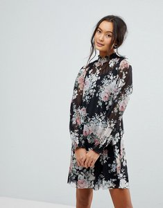Read more about New look printed high neck long sleeve dress - black pattern