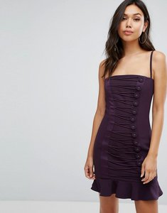 Read more about Misha collection button detail mini dress with frill hem - plum