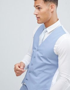 Read more about Asos design wedding skinny suit waistcoat in stretch cotton in dusky blue - blue