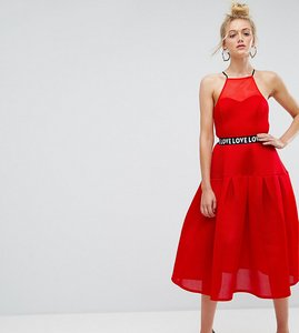 Read more about Asos tall bonded mesh prom midi dress with love strap - red