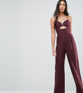 Read more about Asos tall tailored jumpsuit with cut out detail and wide leg - wine