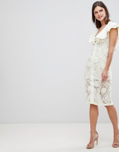 Read more about Asos design scuba frill sleeve 3d lace dress - cream