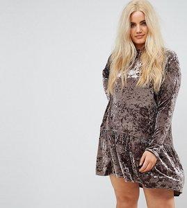 Read more about Elvi allover velvet high neck skater dress with drop hem - dusky lilac