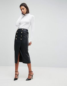 Read more about Asos leather look pencil midaxi skirt with button front detail - black