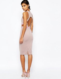 Read more about Asos embellished waist open back scuba midi bodycon dress - mink