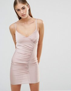 Read more about Missguided plait strap ruched slinky midi dress - mauve