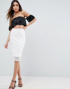 Read more about Asos scuba pencil skirt with lace hem - white