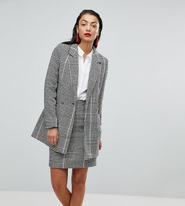 Read more about Vero moda tall longline check blazer - black checks
