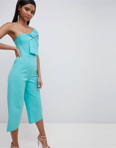 Read more about Lavish alice twisted one shoulder wide leg culotte jumpsuit - turquoise