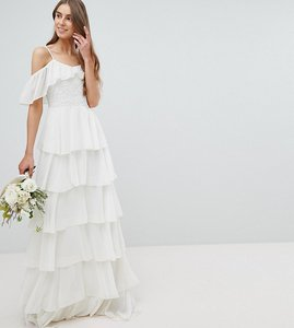 Read more about Amelia rose tall pleated tiered cold shoulder maxi dress - ivory