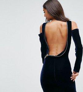 Read more about Asos tall velvet open zip back bodycon mini dress - navy