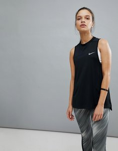 Read more about Nike running dry miler tank in black - black reflective si