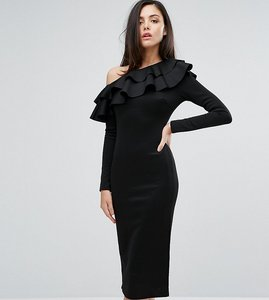 Read more about Club l one shoulder frill detail long sleeve midi dress - black