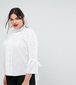Read more about Simply be high neck bow detail blouse - white