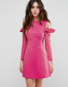 Read more about Asos cold shoulder structured dress with ruffle - pink