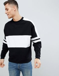 Read more about Asos design oversized sweatshirt in black with colour blocking - black