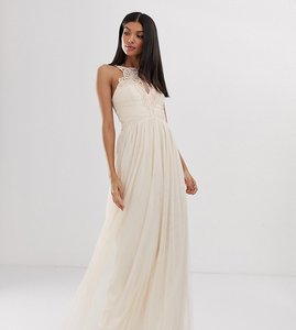 Read more about Little mistress tall tulle maxi dress with lace detail