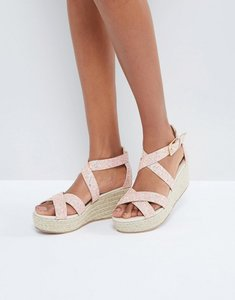 Read more about Truffle collection xover strappy flatform espadrille sandal - pink glitter