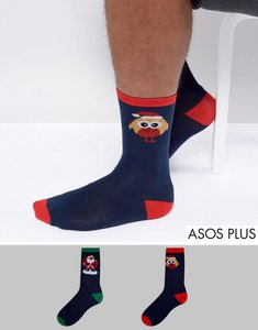 Read more about Duke plus 2 pack christmas sock reindeer santa - navy navy