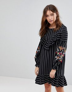 Read more about Glamorous smock dress in fine stripe with balloon sleeves and embroidery - black