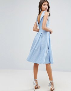Read more about Asos lace prom dress with lip back - pale blue
